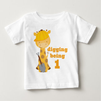 1st T-tröja för födelsedaggiraffbyggnadsarbetare Tee Shirts