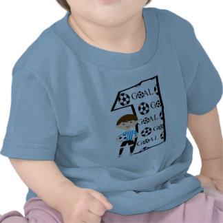1st T-tröja för mål för födelsedagblått- och vitfo