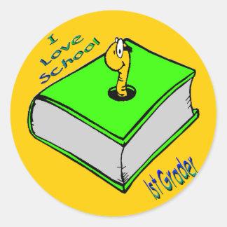 1st väghyvel för bokmal - jag älskar skolar runt klistermärke