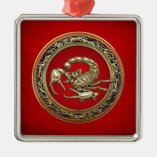 [200] Sakral guld- Scorpion på rött Julgransprydnad Metall