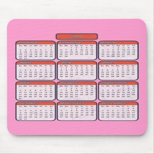 2011 dekorativ kalender Mousepad Musmatta