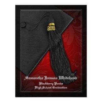 2011 svart och röd Tasselberlockstudenten Anpassade Inbjudan