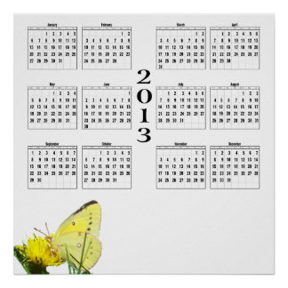 2013 kalender - fjäril poster