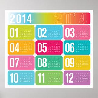 2014 årliga färgrika kalender poster