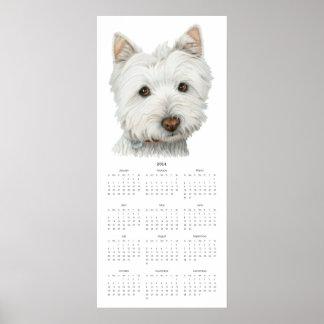 2014 gulliga affisch för kalender för Westie hundk