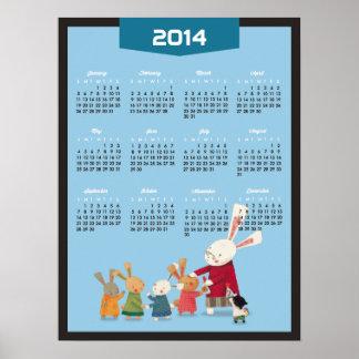 2014 kalender - familj för gott nytt årkaninkanin affisch