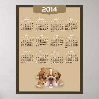 2014 kalender - färg för kakier för gullig mopshun affisch