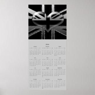 2014 kalender, modern facklig jackhjärtaflagga affisch