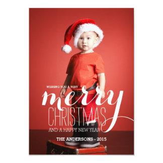 2015 glada kort för önskemålhelgdagfoto 12,7 x 17,8 cm inbjudningskort