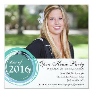 2016 öppna blått för husstudenteninbjudan cirklar fyrkantigt 13,3 cm inbjudningskort