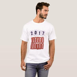 2017 års- och månadkalendermärkre t-shirt