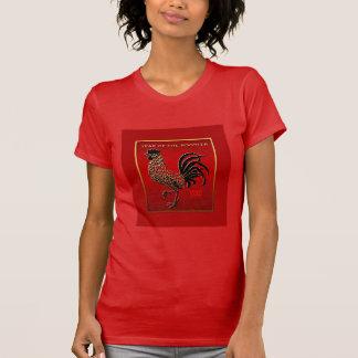 2017 präglade emaljerat för tuppår verkställer röd t-shirt