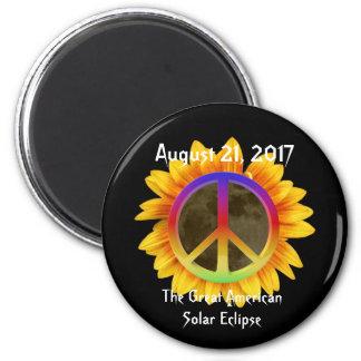 2017 sol- förmörkelse, solros och fredsymbol magnet rund 5.7 cm