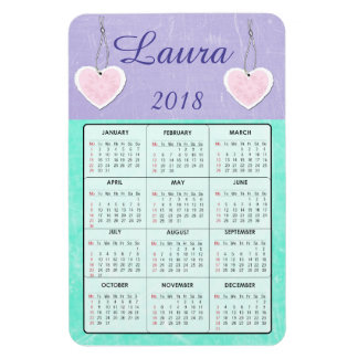 2018 lilor och för kalendernamn för kricka mini- magnet