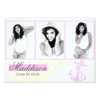 2018 rosor ankrar fotostudentenmeddelande 12,7 x 17,8 cm inbjudningskort