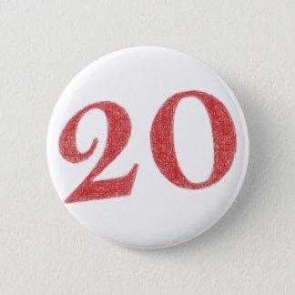 20 år årsdag standard knapp rund 5.7 cm