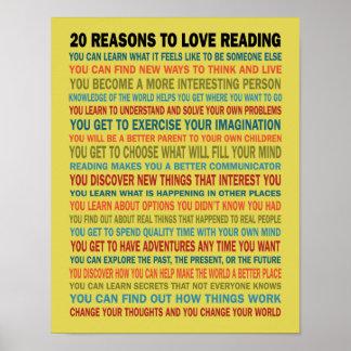 20 resonerar för att älska läs- bokar poster