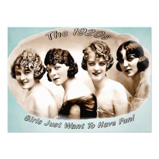 20-tal Flappers_Girls önskar precis att ha roligt Anpassningsbara Inbjudningskort
