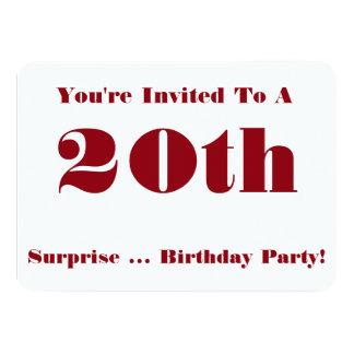 20th Överrrakningfödelsedagsfestinbjudan, rött och 11,4 X 15,9 Cm Inbjudningskort