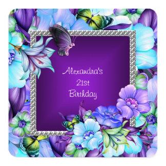21st födelsedag för eleganta blommor för fyrkantigt 13,3 cm inbjudningskort