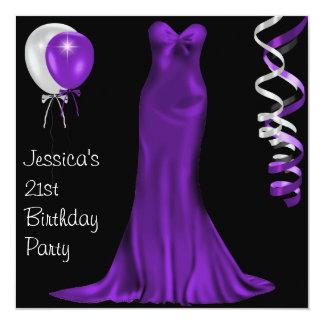 21st födelsedag för svart klänning för vit fyrkantigt 13,3 cm inbjudningskort