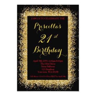21st Födelsedaginbjudan, svart, konfetti, guld 12,7 X 17,8 Cm Inbjudningskort