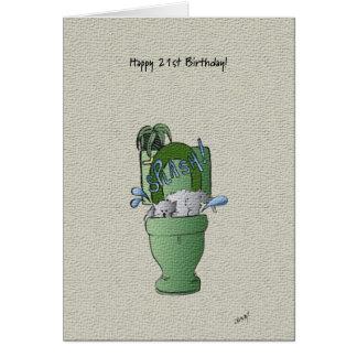 21st födelsedagkort för lycklig! hälsningskort