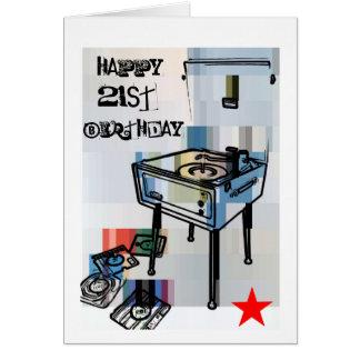 21st födelsedagkort för Retro lycklig Hälsningskort