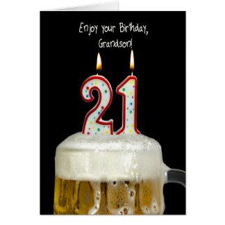 21st Födelsedagöl för sonson Hälsningskort