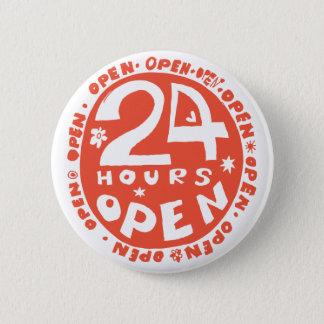24 timmar öppnar standard knapp rund 5.7 cm