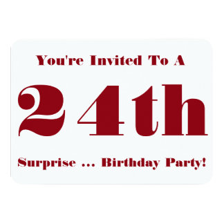 24th Överrrakningfödelsedagsfestinbjudan, rött och Personliga Tillkännagivande