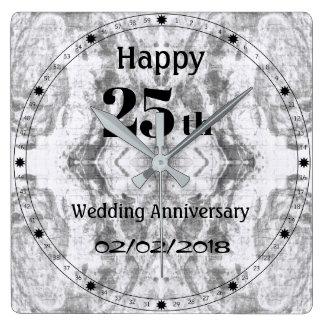 25th bröllopsdag för silvergråttmarmor fyrkantig klocka