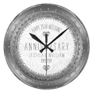 25th bröllopsdag för silversnöreram stor klocka