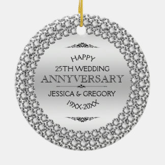 25th bröllopsdagdiamanter & silver för lycklig rund julgransprydnad i keramik