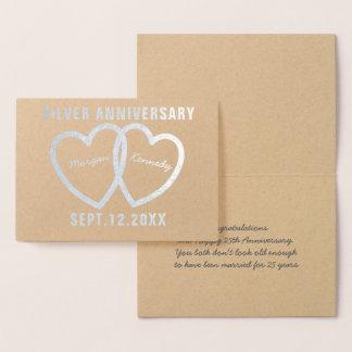 25th Bröllopsdaghjärtasilver omkullkastar kortet Folierat Kort