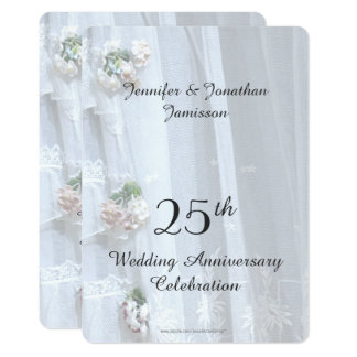 25th Bröllopsdagparty, vintagesnöre 12,7 X 17,8 Cm Inbjudningskort