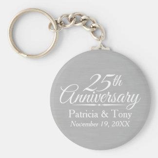 25th Bröllopsdagpersonlig Rund Nyckelring