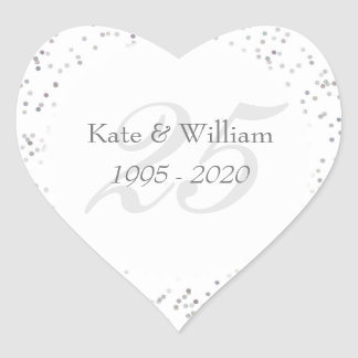 25th BröllopsdagsilverStardust konfettiar Hjärtformat Klistermärke