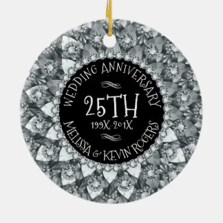 25th Bröllopsdagvitdiamanter och svart Rund Julgransprydnad I Keramik