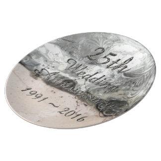 25th Chic silvertypografi för bröllopsdag Porslinstallrik