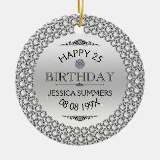 25th födelsedagdiamanter & silver för lycklig rund julgransprydnad i keramik