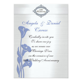 25th liljar för calla för årsdaginbjudanblått 14 x 19,5 cm inbjudningskort
