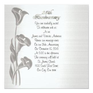25th Liljar för calla för bröllopsdagvowförnyande Fyrkantigt 13,3 Cm Inbjudningskort