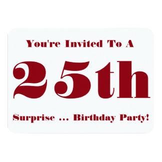 25th Överrrakningfödelsedagsfestinbjudan, rött och Inbjudningskort