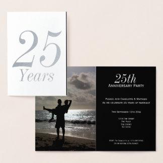 25th Personlig för silverbröllopsdagparty Folierat Kort