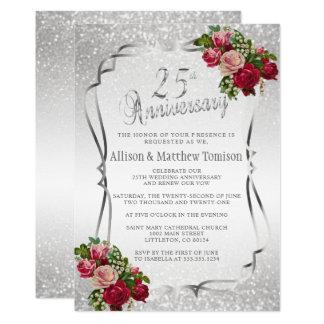 25th Text för silverglitterbröllopsdag | DIY 12,7 X 17,8 Cm Inbjudningskort