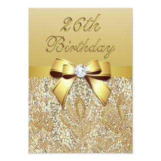 26th FauxSequins och pilbåge för födelsedag guld- 12,7 X 17,8 Cm Inbjudningskort
