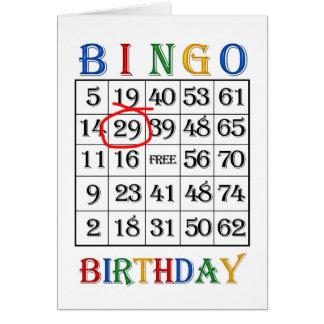 29th FödelsedagBingokort Hälsningskort