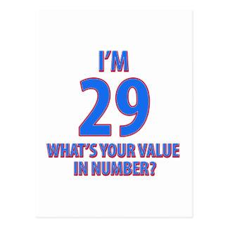 29th födelsedagdesigner vykort