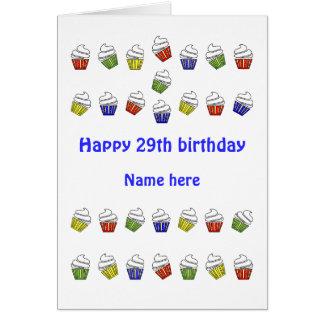 29th födelsedagpersonligmuffins hälsningskort